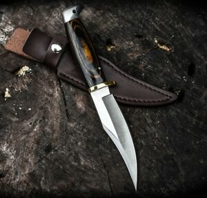 BUCK KNIFE HOT HUNTING WOOD HANDLE QUALITY BRASS POLISH BLADE