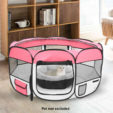 "Hobbyzoo 57"" Portable Foldable 600D Oxford Cloth & Mesh Pet Playpen Fence Pink"