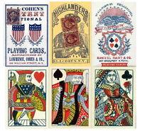 Repro Antique Poker Cards Set of 3 Decks 1858 1863 1864 Civil War Stage Props