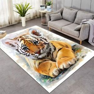 Baby Tiger Cub Animal Large Rectangle Rug Carpet Mat Living Room Bedroom