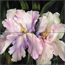 Ceramic Tile Mural Kitchen Backsplash Shower Cook Iris Flowers Floral Art CC006