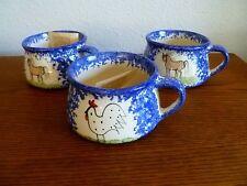"(3) Molly Dallas 5"" Spatterware Big Horse/Chicken Ceramic Soup Mug/Bowl"