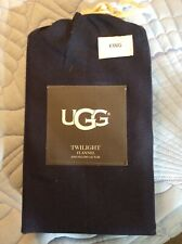 """UGG Twilight Flannel King Pillowcases Pair of 2 Navy New Tencel Lyocell 21"""" x41"""""""