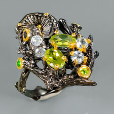 Gemstone Jewelry Natural Peridot 925 Sterling Silver Ring Size 7/R96548