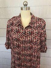 J Jill Geometric Print Shirt Dress 16 Red Black White Knee Length Summer