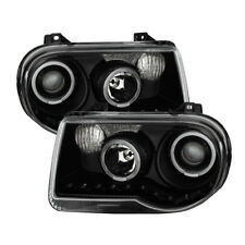 Chrysler 05-10 300C Black Twin Halo LED Projector Replacement Headlights Pair