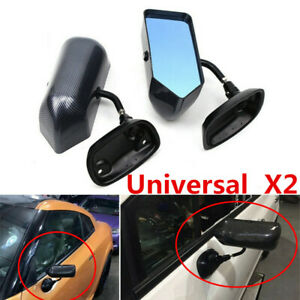 2pcs Carbon Fiber Look Blue Rearview Mirror F1 Style Universal For Car Both Side