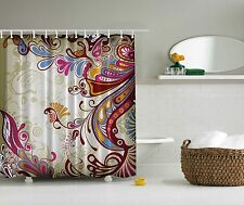 Beige Pink Blue Gold Fuchsia Paisley Artwork Shower Curtain Digital Bathroom