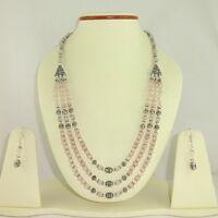 Necklace earrings natural pink rose quartz gemstone beaded handmade jewelry
