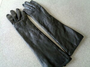 Oasis Elbow Length Black Leather Gloves Size S Hardly Worn