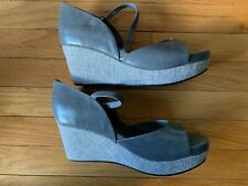 ANTELOPE CERAY PATENT LEATHER GRAY WEDGE SHOES 41 (NIB)