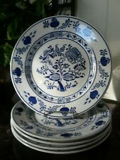 """Set Of 5 Vintage Germany Blue Onion Luncheon Dinner Plates 9 1/8"""" White"""