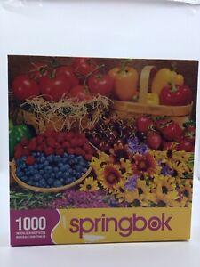 "Springbok GARDEN GOODIES 1000 Piece PUZZLE Fruits & Vegetables 24"" x 30"" EUC"