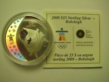 2008 Proof $25 2010 Vancouver Olympics #10-Bobsleigh Canada COIN&COA ONLY .925 s