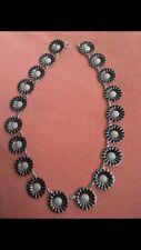 Georg Jensen Rare Authentic Daisy Sterling Silver Necklace Black  Enamel 18mm