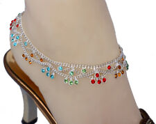 Bollywood Designer CZ Silver Tone Indian Anklets Payal ( QA18E ) - 1 Pair