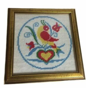 Amish Folk Art Country Bird Framed Completed Needlepoint Picture  EUC