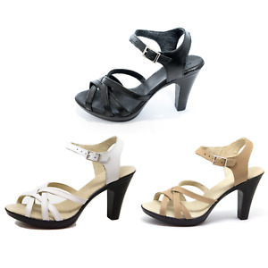 KS163 Damen High Heels Sandalen Pantoletten aus Leder für Sommer Sommerschuhe