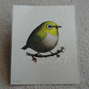 2016 Mike Mitchell Japanese White-Eye Green Fat Bird Series Mondo Print