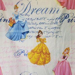Disney Princess Twin Flat Sheet 1990s Vintage Kids Bedding Cinderella Belle