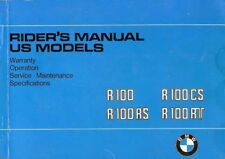 1980 BMW R100 MOTORCYCLE OWNERS RIDERS MANUAL -R100-R100CS-R100RS-R100RT