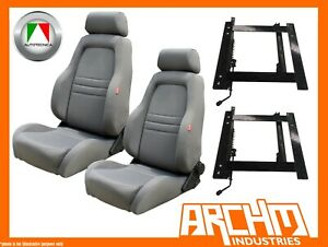 AUTOTECNICA ADVENTURER SEAT CLOTH GREY LANDCRUISER 70-76-79 WAGON ADAPTOR PAIR