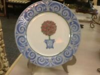 Victoria Beale-English Manor-Porcelain Salad Plate-Blue & White-Roses Topiary
