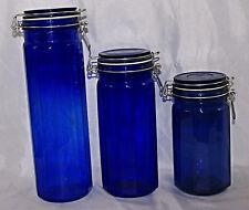 Cobalt Blue 12 Panel Glass Canister Set of 3 Wire Bale Closure Jar Kitchen Bath