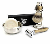 Vintage safety razor Double edge Blade shaver & Badger hair shaving brush kit