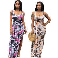 New Women Sleeveless Tie Dye Print Side Slit Low Cut Casual Summer Long Dress