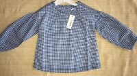 Gymboree girl's shirt top blue and white checked blouse size 12 - 18 months NWT