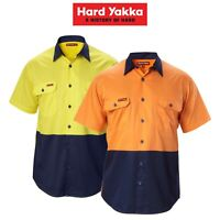 Mens Hard Yakka Koolgear Shirt Hi-Vis Short Sleeve Vented Safety Work Y07559