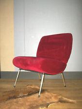 FAUTEUIL COCKTAIL VINTAGE Tissu rouge pieds métal 50 60 1950 DESIGN