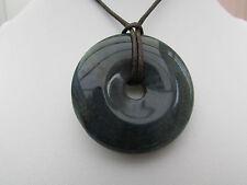 Un Grigio Blu/Giallo Agata Ciambella Ciondolo su una Collana Corda Cerato. (30 *)
