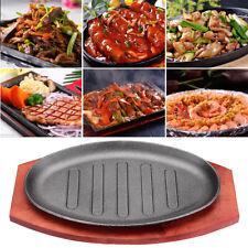 3 Sizes Cast Iron Steak Fajita Sizzling Platter Plate w/ Cooking Wooden