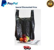 More details for black plastic vest carrier bags strong bags shops stalls supermarkets black smal
