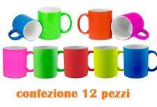 Set 12 Pezzi Tazza Tazzone Porcellana Colorate Latte Colazione moc