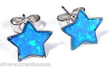 8mm Blue Fire Opal Inlay 925 Sterling silver stud post Star earrings