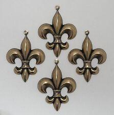 #1635 LARGE ANTIQUED GOLD FLEUR DE LYS W/TOP HANG RING - 4 Pc Lot
