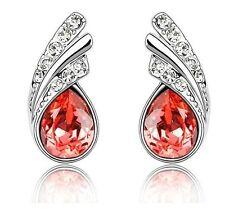 Meravigliosi Cristallo Rosso Ali D'angelo Argento Orecchini Strass E370