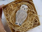 New 3D Dresden Paper Holiday Christmas Ornament Snowy White Owl Feather Tree Dec