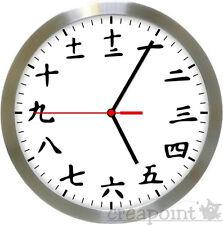 #526 Orologio da parete-kanji orologio radio in alluminio spazzolato Echt Glas Top!