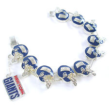 NFL Football New York Giants Fancy Silver Charm Bracelet