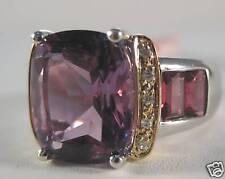 14KYW 8.5 Ct African Amethyst, Garnet & Diamond Ring
