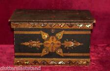 Rosewood Jewelry Sewing Box Silk Lined 1800s Mother Of Pearl Inlay Japaned Dutch