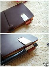Handmade Vintage Leather Stainless Steel Pen Holder Clip For Journal Note Book