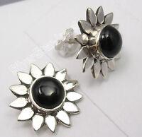 "FLOWER Studs Posts Earrings, 925 Solid Silver Unseen BLACK ONYX Jewelry 0.6"""
