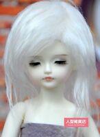 "6~7"" (16~17cm) 1/6 BJD DOLL MSD Fur Wig Dollfie White M24"