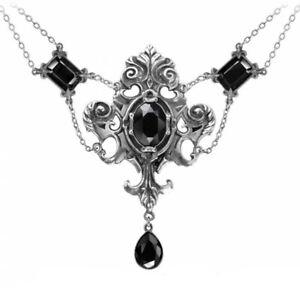 ALCHEMY QUEEN OF THE NIGHT Gothic Statement Necklace Black Swarovski Crystals