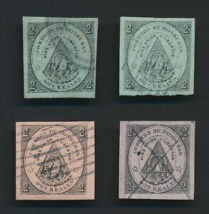 RARE HONDURAS STAMPS 1866 Sc #1 Sc #2 2r USED INC FOURNIER? FORGERY BOTTOM RIGHT
